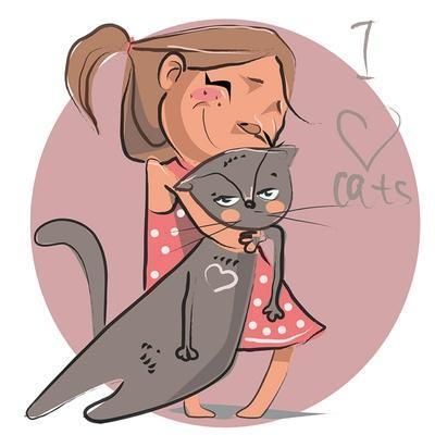 Cartoon Illustration of Girl with Kitten Pet.