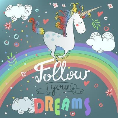 Vector Card with Cute Unicorn, Rainbow, Decor Elements.