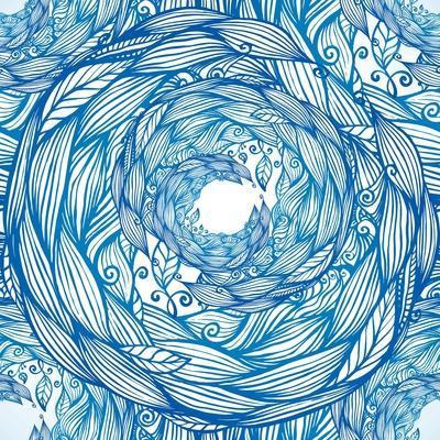 Blue Ornate Doodle Foliage Circle Seamless Pattern