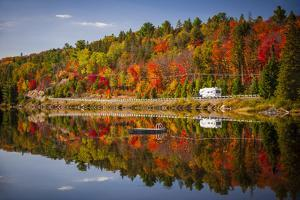 Fall Forest with Colorful Autumn Leaves and Highway 60 Reflecting in Lake of Two Rivers.  Algonquin by elenathewise