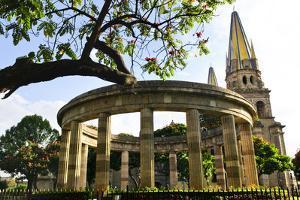 Rotonda De Los Jalisciences Ilustres and Cathedral in Historic Center in Guadalajara, Jalisco, Mexi by elenathewise