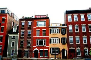 Row of Brick Houses in Boston Historical North End by elenathewise