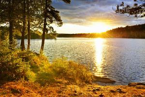 Sunset over Lake of Two Rivers in Algonquin Park, Ontario, Canada by elenathewise