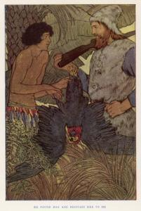 Robinson Crusoe Shoots a Parrot Which He and Friday Eat for Supper by Elenore Plaisted Abbott