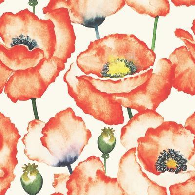 Watercolor Poppy Pattern