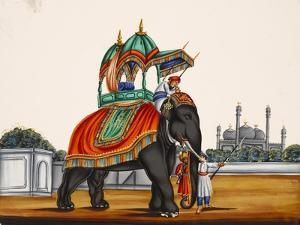 Elephant and a Mosque, from Thanjavur, India