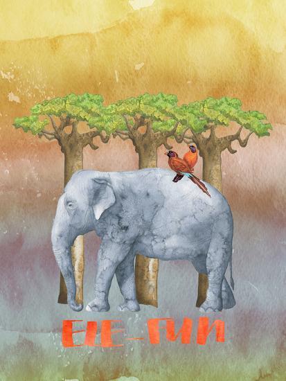 Elephant And Birds-Grab My Art-Art Print