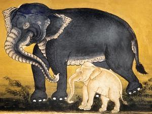 Elephant and Calf, Page from a Manuscript on Elephant Training