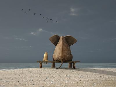 Elephant and Dog Sit on a Beach-Photobank gallery-Art Print