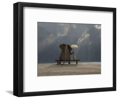 Elephant And Dog Sit Under The Rain-Mike_Kiev-Framed Photographic Print