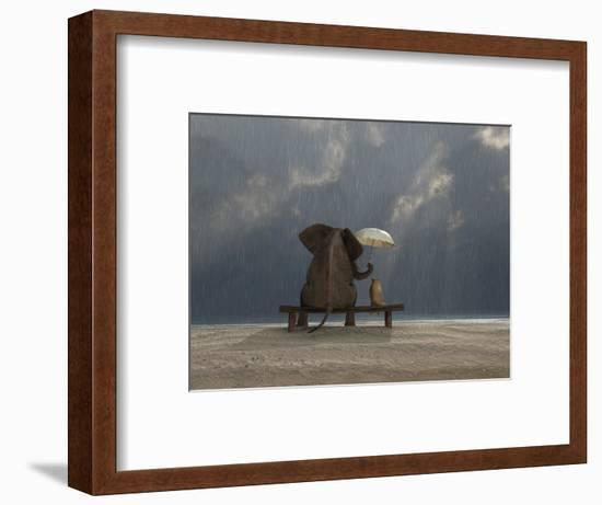 Elephant And Dog Sit Under The Rain-Mike_Kiev-Framed Giclee Print