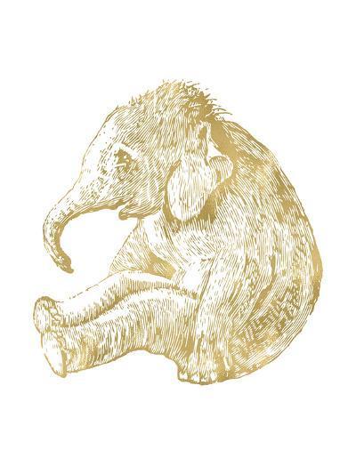 Elephant Baby Golden White-Amy Brinkman-Art Print