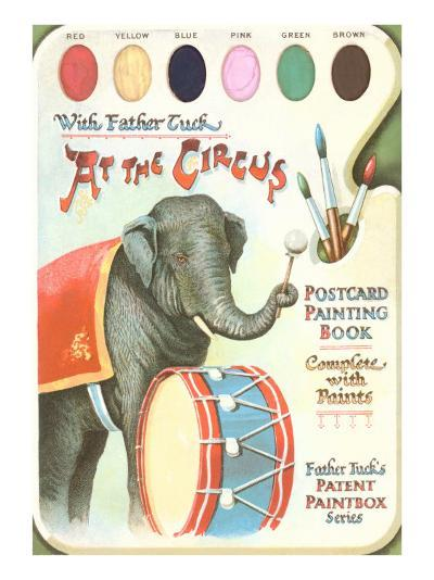 Elephant Beating Drum, Circus Painting Book--Art Print