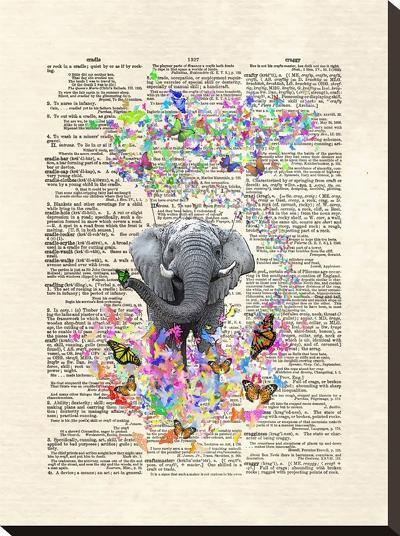 Elephant Butterflies-Matt Dinniman-Stretched Canvas Print