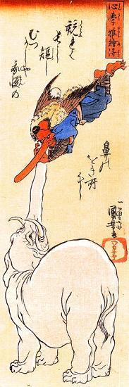 Elephant Catching a Flying Tengu-Kuniyoshi Utagawa-Giclee Print