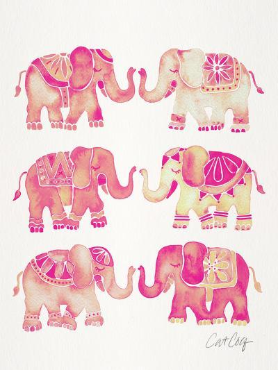 Elephant Collection Pink-Cat Coquillette-Art Print