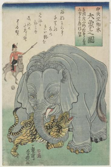 Elephant from India with Tiger, February 1863- Yoshitoyo-Giclee Print