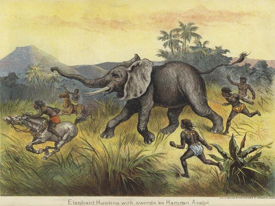 Elephant Hunting with Swords by Hamran Arabs--Giclee Print