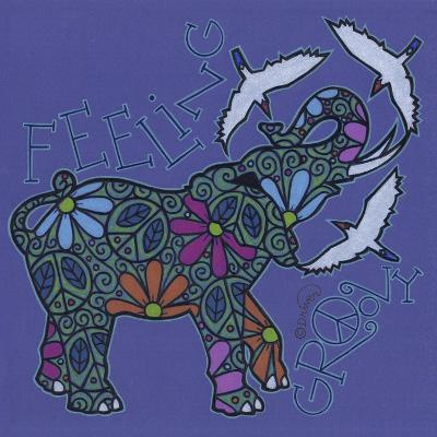 Elephant II (Feeling Groovy) with Cattle Egrets-Denny Driver-Giclee Print