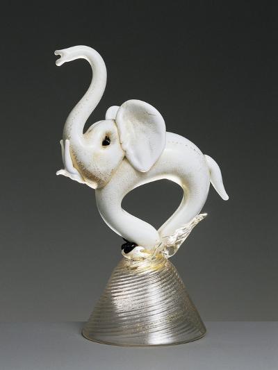 Elephant in Milk Glass Sprayed with Gold, 1934-1935--Giclee Print