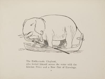 Elephant in Row Boat From a Collection Of Poems and Songs by Edward Lear-Edward Lear-Giclee Print