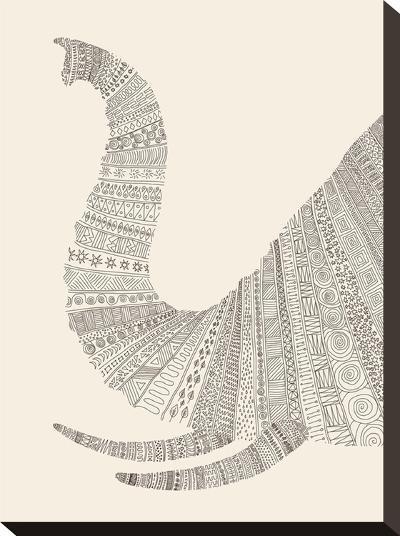 Elephant (On Beige)-Florent Bodart-Stretched Canvas Print