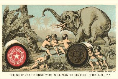 Elephant Pulling over Column--Art Print