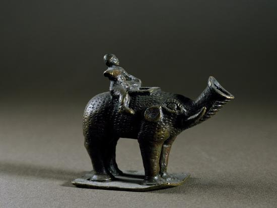 Elephant-Shaped Lucerne, with Wick Protruding from Trunk, Bronze--Giclee Print
