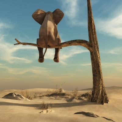 Elephant Stands on Thin Branch of Withered Tree in Surreal Landscape. this is a 3D Render Illustrat-Orla-Art Print