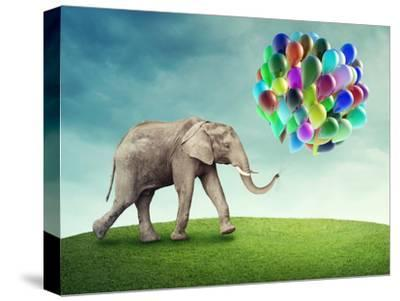 Elephant with a Colorful Balloons-egal-Stretched Canvas Print