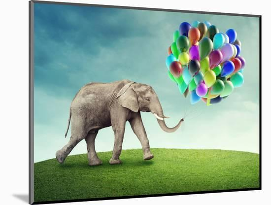 Elephant with a Colorful Balloons-egal-Mounted Photographic Print