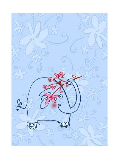 Elephant with Flower Stem--Art Print