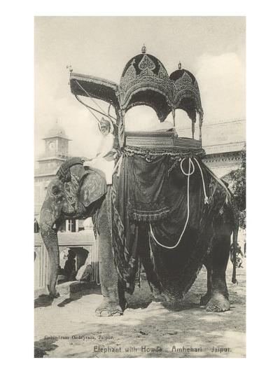 Elephant with Howdah, Amhehari, India--Art Print