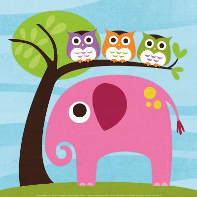 Elephant with Three Owls-Nancy Lee-Art Print