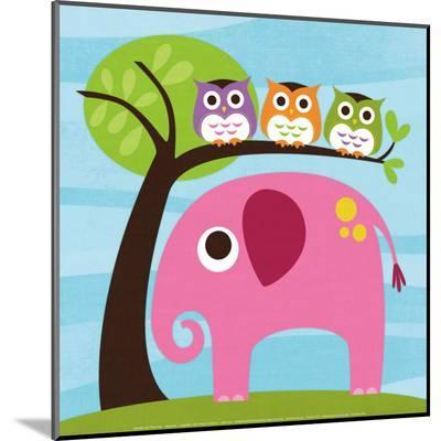 Elephant with Three Owls-Nancy Lee-Mounted Print
