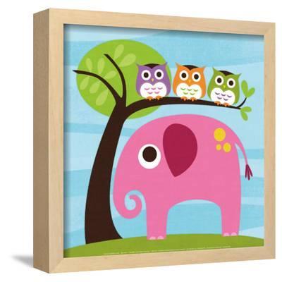 Elephant with Three Owls-Nancy Lee-Framed Art Print