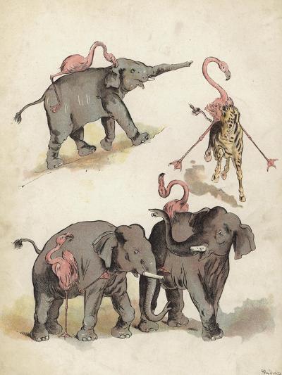Elephants and Flamingoes-Richard Andre-Giclee Print