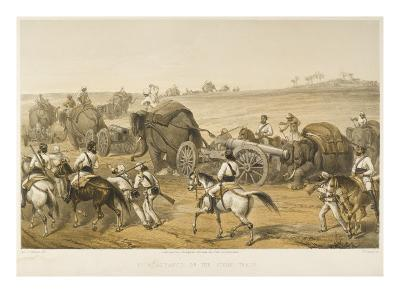 Elephants are Used to Haul Artillery, Forming a 'siege Train', During the Indian Mutiny--Giclee Print