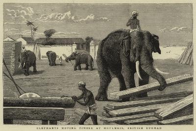 Elephants Moving Timber at Moulmein, British Burmah--Giclee Print