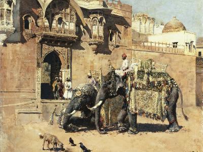 Elephants Outside a Palace, Jodhpore, India-Edwin Lord Weeks-Giclee Print
