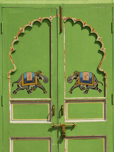 Elephants painted on green door, City Palace, Udaipur, India-Adam Jones-Photographic Print