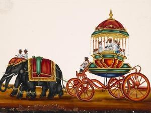 Elephants Pulling a Carriage Belonging to a Wealthy Man, from Thanjavur, India