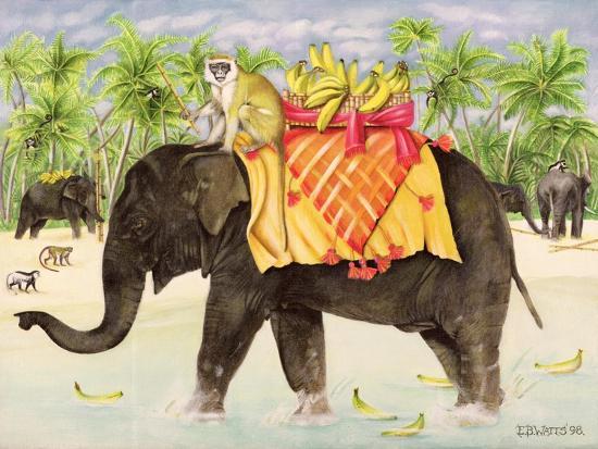 Elephants with Bananas, 1998-E.B. Watts-Giclee Print