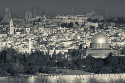 Elevated city view with Temple Mount and Dome of the Rock from the Mount of Olives at dawn, Jeru...