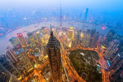 Elevated Night View of Shanghai`S Skyline.-r nagy-Photographic Print