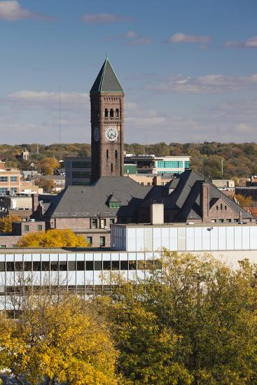 Elevated Skyline with Old Courthouse, Sioux Falls, South Dakota, USA-Walter Bibikow-Photographic Print