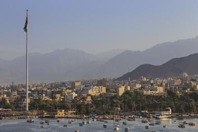Elevated View of Aqaba Seafront with Huge Jordanian Flag, Middle East-Eleanor Scriven-Photographic Print