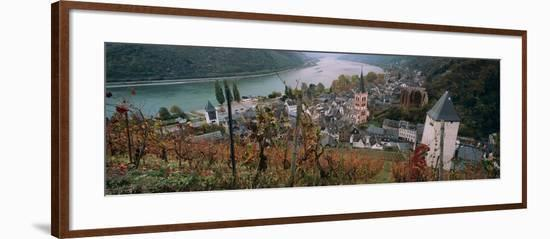 Elevated View of Bacharach and the Rhine River in Autumn, Rhineland-Palatinate, Germany--Framed Photographic Print