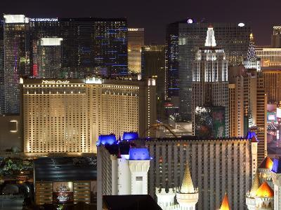Elevated View of Casinos on the Strip at Night, Las Vegas, Nevada, USA, North America-Gavin Hellier-Photographic Print