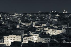 Elevated view of Central Amman and Citadel at night, Amman, Jordan